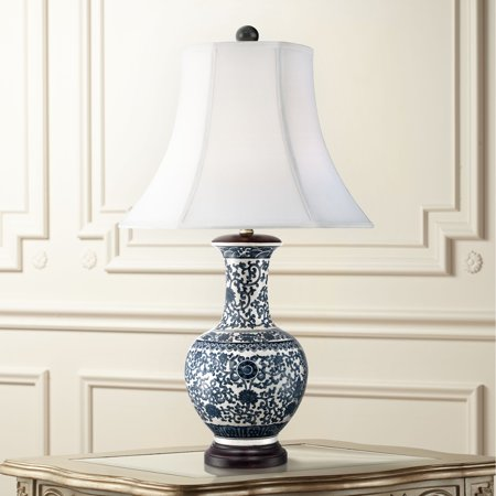 Barnes and Ivy Asian Table Lamp Ceramic Blue Floral Urn White Bell Shade for Living Room Family Bedroom Bedside Nightstand