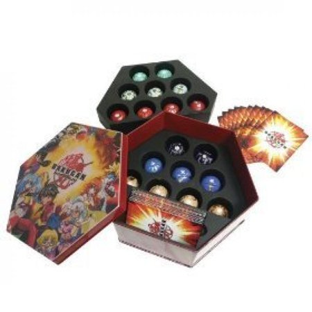 Red Og Series (Red Bakutin Collector's Tin Filled with 18 Bakugan, B2 Bakupearl, Bakugan Series 1 and /Or Heavy Metal Bakugan Random Marbles with 36)