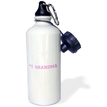 3dRose #1 Grandma - Number One Grandma for worlds greatest and best grans - pink text grandmother gifts, Sports Water Bottle, 21oz