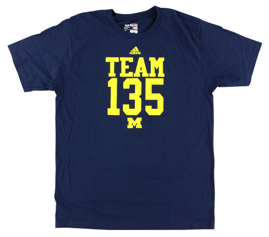 Adidas Mens Michigan Wolverines College Base Hook T Shirt Navy Blue by