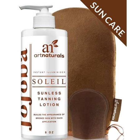 Art Naturals Organic Self Tanner Sunless Tanning Lotion Set w/ Mitt 8oz- Creates a Buildable Bronze & Golden Tan w/ Each Application - Instant Tint for All Skin Types, Light,