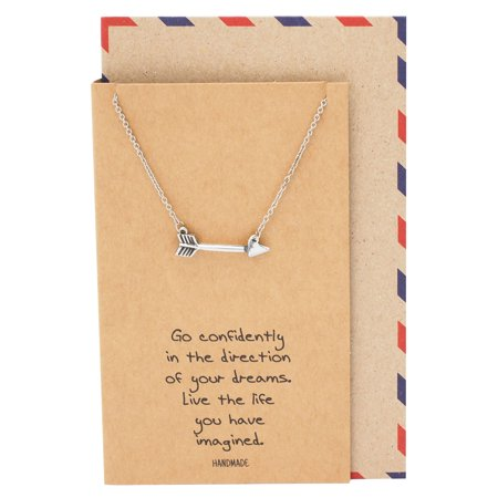 Quan Jewelry Arrow Necklace, Graduation and Christmas Gifts for Women with Greeting Card, 16-18 in](Necklace For Graduation)