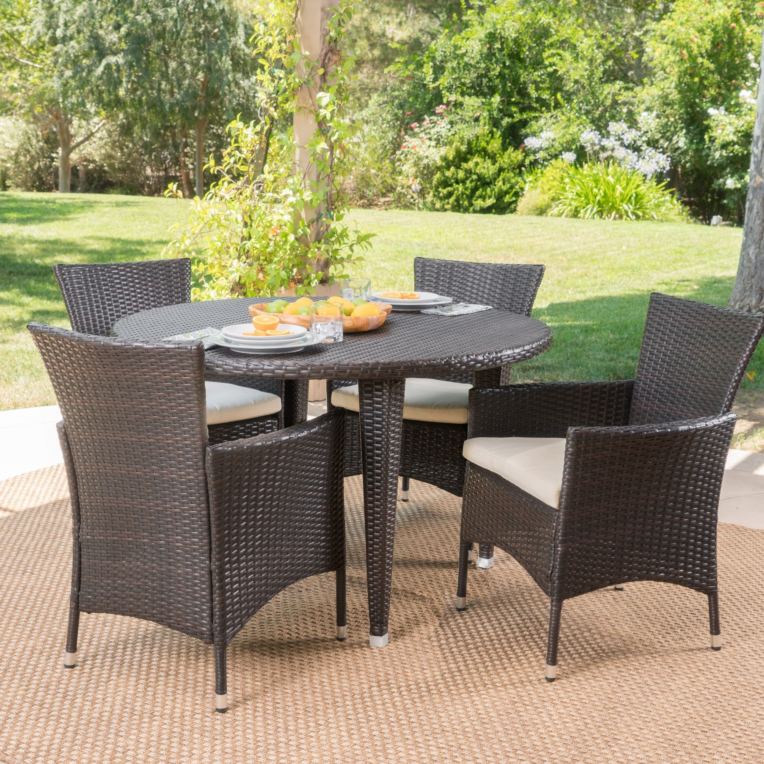 Christopher Knight Home Paoha Outdoor 5-piece Round Dining Set with Cushions by