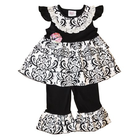 - AnnLoren Little Girls Black White Damask Rumba Tunic Capri 2 Pc Outfit