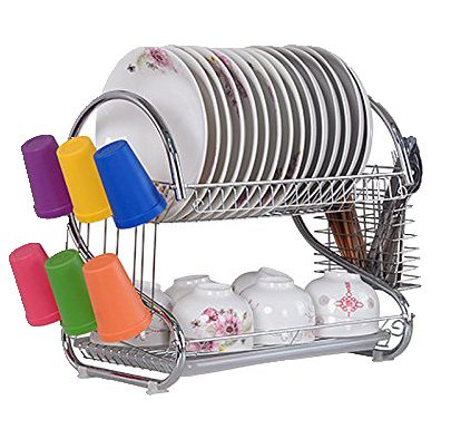 Zimtown Kitchen Dish Cup Drying Rack Bowl Rack Holder Sink Drainer 2 Tier  Dryer
