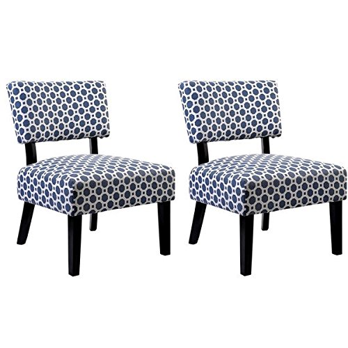 US Pride Furniture Charlotte Modern Patterned Print Fabric Upholstered  Accent Chairs With Solid Wood Legs (