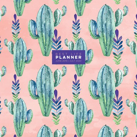 July 2019 - June 2020 Prickly Pink Cactus 'Best Life' Large 12x12 Monthly Planner for Goals, Appointments, and