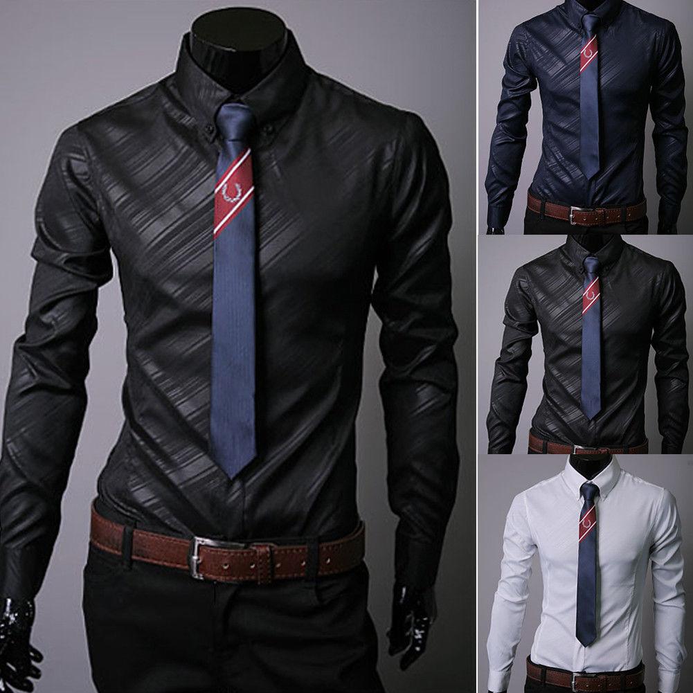 959e56557ba53 New Fashion Mens Luxury Casual Stylish Slim Fit Long Sleeve Casual Dress  Shirts