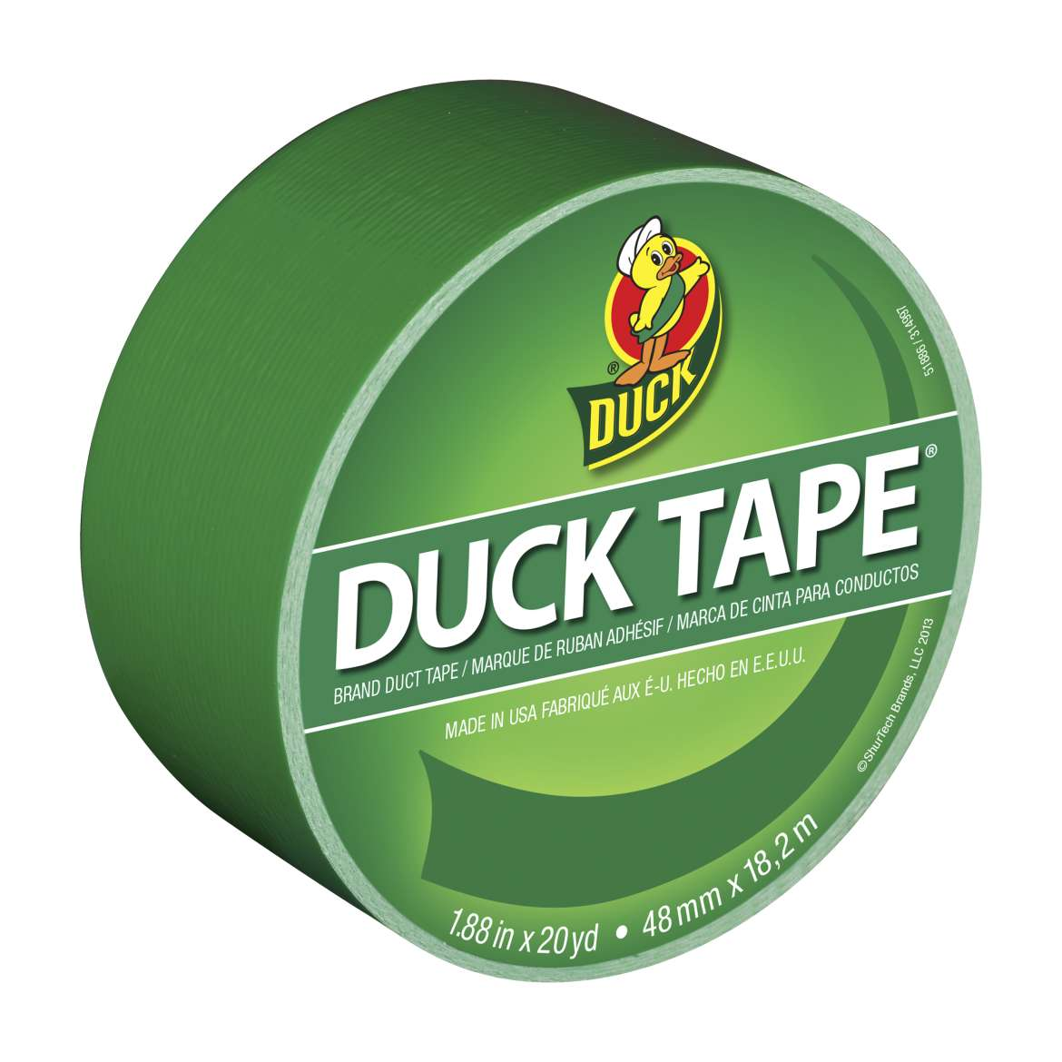 "Colored Duck Tape 1.88"" Wide 20 Yard Roll, Clover Green"