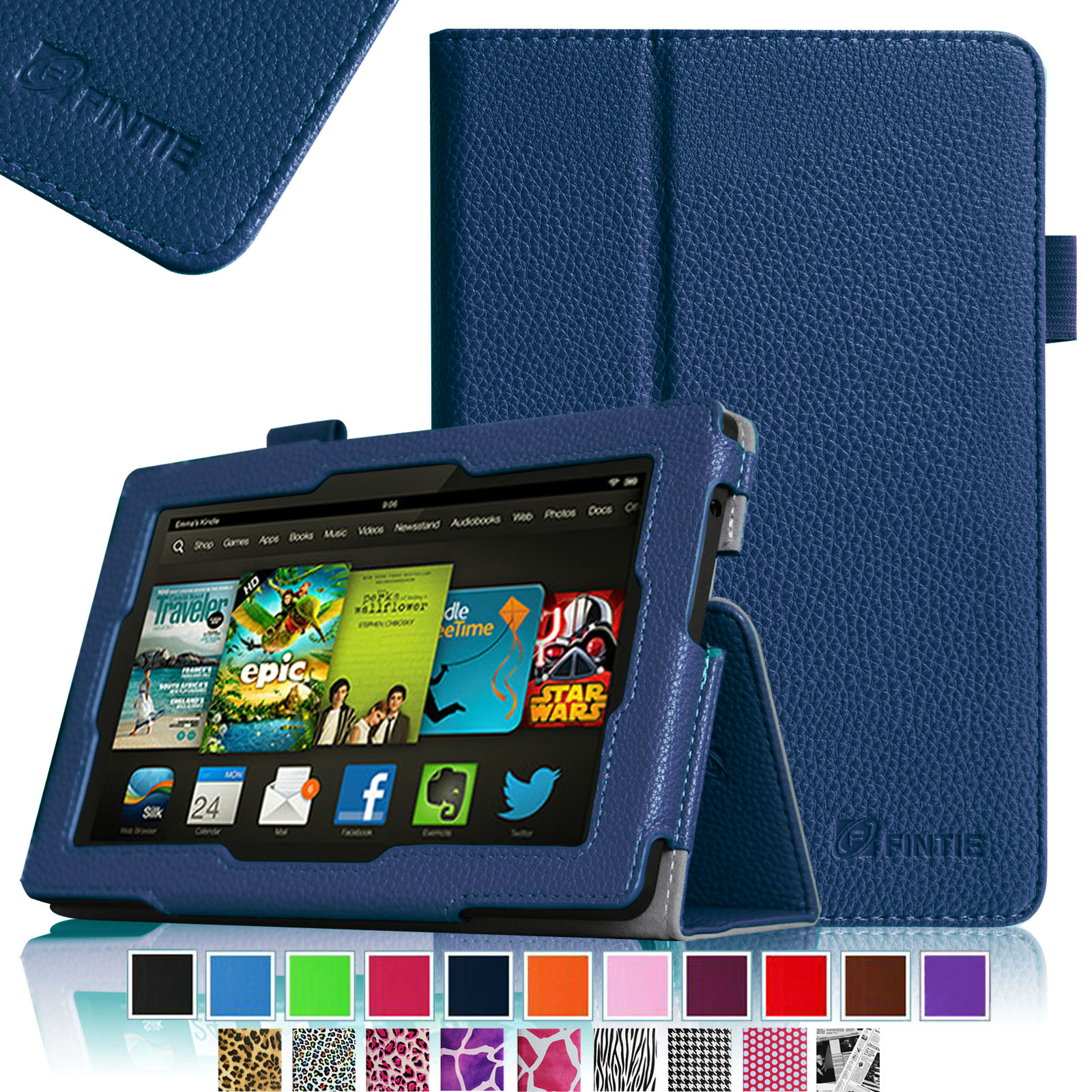 "Fintie Kindle Fire HD 7"" Tablet (2013 Old Model) Slim Fit Folio Case with Auto Sleep / Wake Feature, Navy"