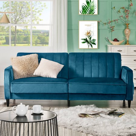 "Premium Velvet Love Seats Clearance, Sectional Sofa and Couch with Solid Wood Frame and Legs, Mid Century Modern Couch Recliner Sofa Living Room Furniture for Small Space, 70""x31""x41"", Blue, Q6305"