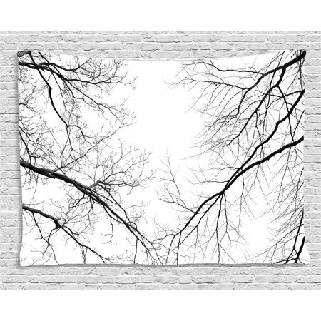 Forest Tapestry, Trees Branches Leafless Spooky Scary Image in a Gloomy Air Sky Scene Image, Wall Hanging for Bedroom Living Room Dorm Decor, 60W X 40L Inches, Black and White, by Ambesonne - Spooky Scene