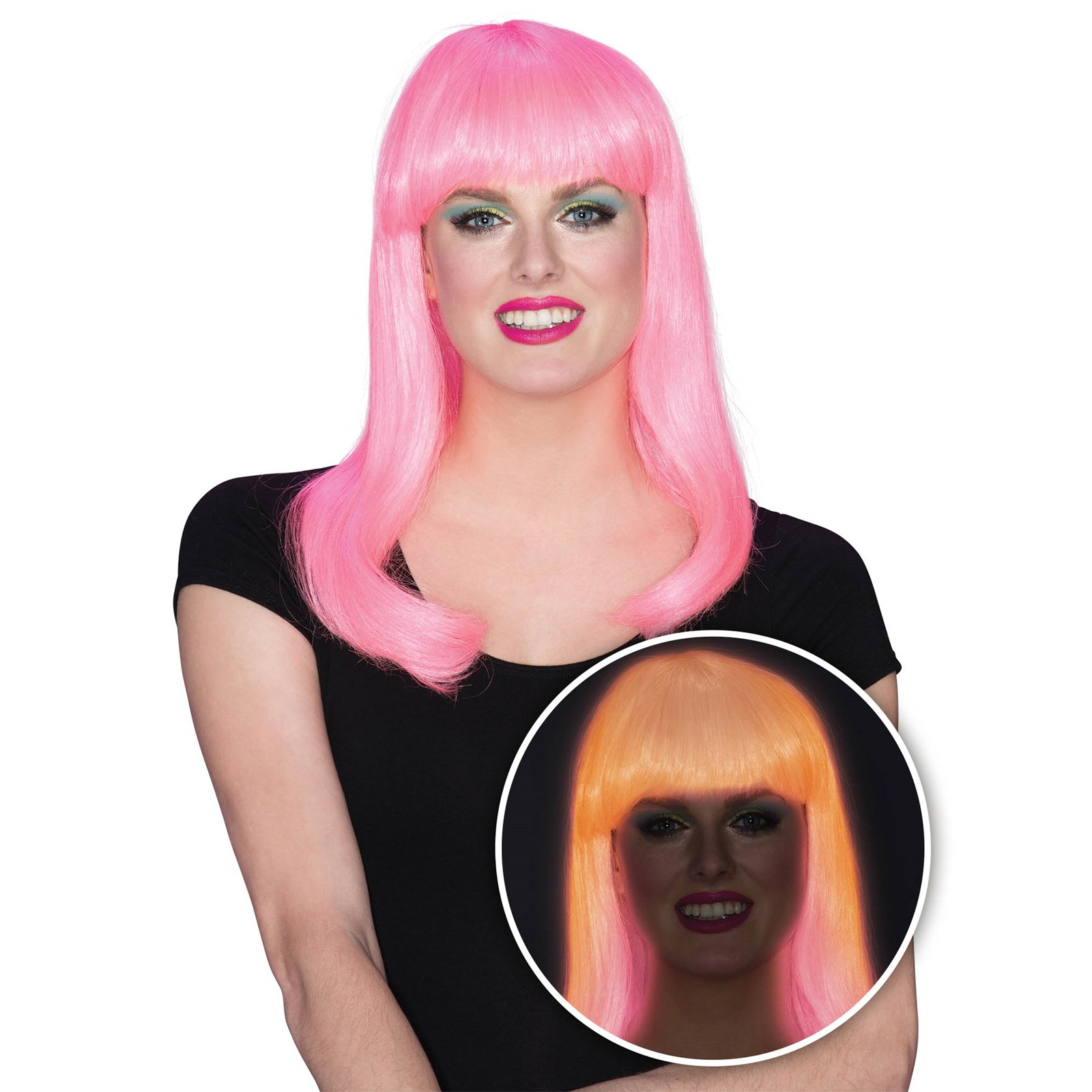 Womens Pink Glow Babe Halloween Costume Accessory Wig