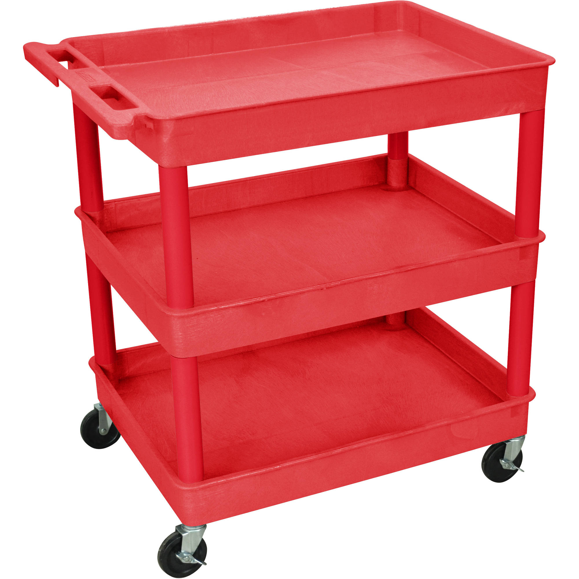 Luxor Large 3-Shelf Tub Cart, Red