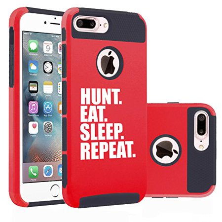 brand new fd2b6 01301 For Apple (iPhone 8 Plus) Shockproof Impact Hard Soft Case Cover Hunt Eat  Sleep Repeat Hunting (Red)