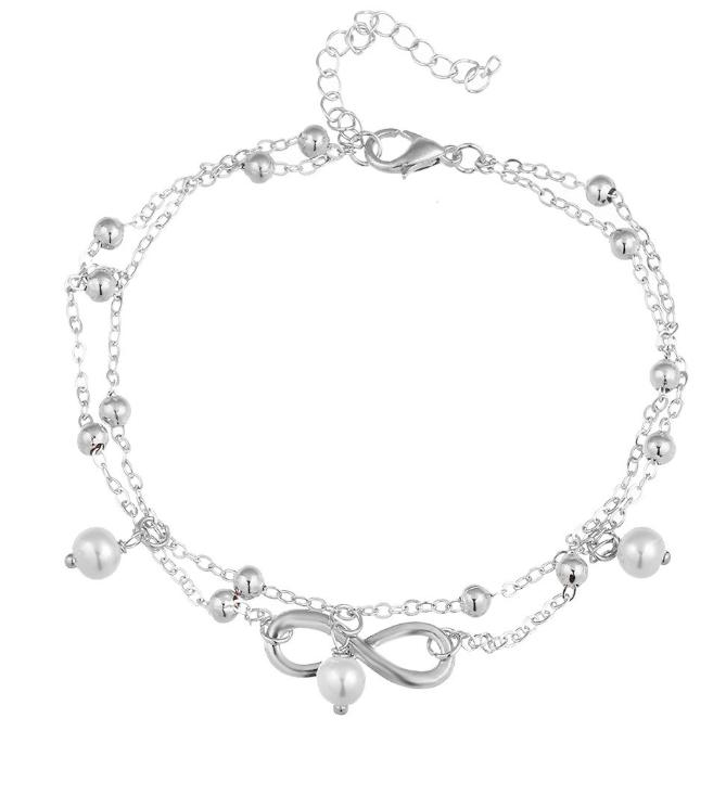 ON SALE - Pearl Beads Infinity Double Anklet In Silver or Gold Silver Chain
