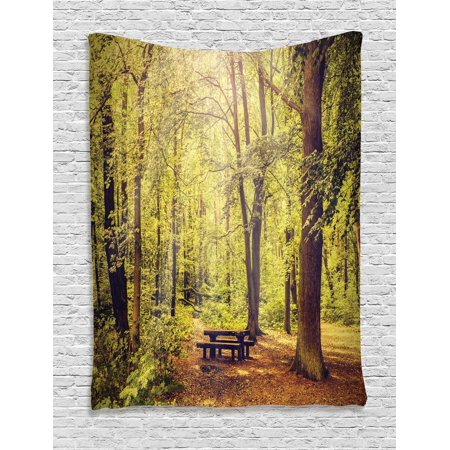 Forest Tapestry, Picnic Table in the Forest Foliage Greenery Nature Theme Summer and Winter Theme, Wall Hanging for Bedroom Living Room Dorm Decor, Green Brown, by Ambesonne - Winter Themes