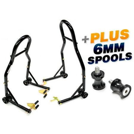 Swing Arm Stand Spools (Venom Sport Bike Venom Motorcycle Front & Rear Combo Wheel Lift Stands Fork & Swingarm Stands Paddock Stands + Low Profile 6mm Black Swingarm Spools (Fits Most Yamaha)