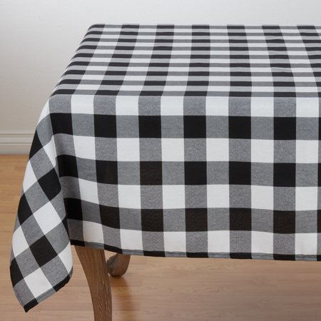 Buffalo Plaid Checkered Classic Cotton Tablecloth - 2 Colors (Black, 70