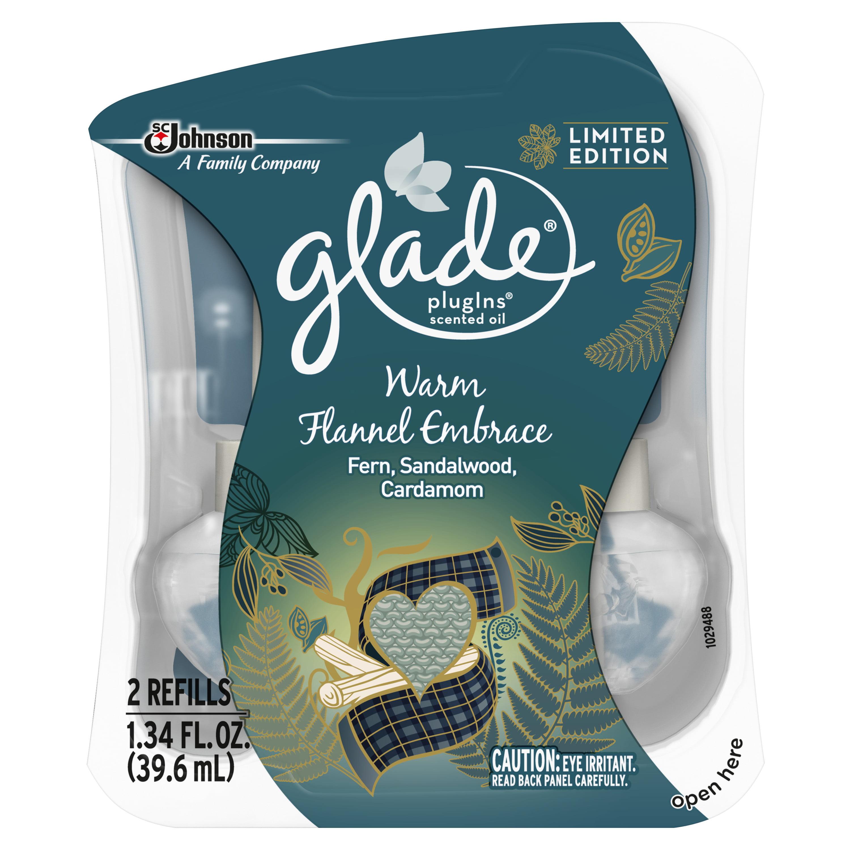 Glade PlugIns Scented Oil Air Freshener Refill, Warm Flannel Embrace, 2 refill, 1.34 fl oz