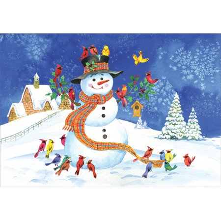 Designer Greetings Snowman and Colorful Birds Box of 18 Christmas Cards ()