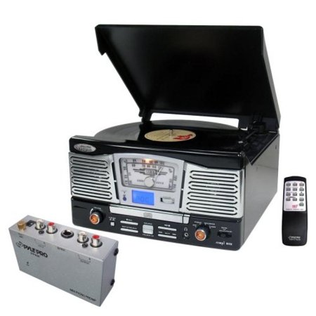 Pyle Turntable Record Player And Pre Amplifier Package   Ptcd8ub Retro Style Turntable With Cd Radio Usb Sd Sdhc Mp3 Wma And Vinyl To Mp3 Encoding   Pp444 Ultra Compact Phono Turntable Preamp