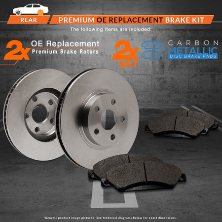 Max Brakes Rear Premium Brake Kit [ OE Series Rotors + Metallic Pads ] TA019242 | Fits: 2010 10 2011 11 Mercury Milan - image 2 of 8
