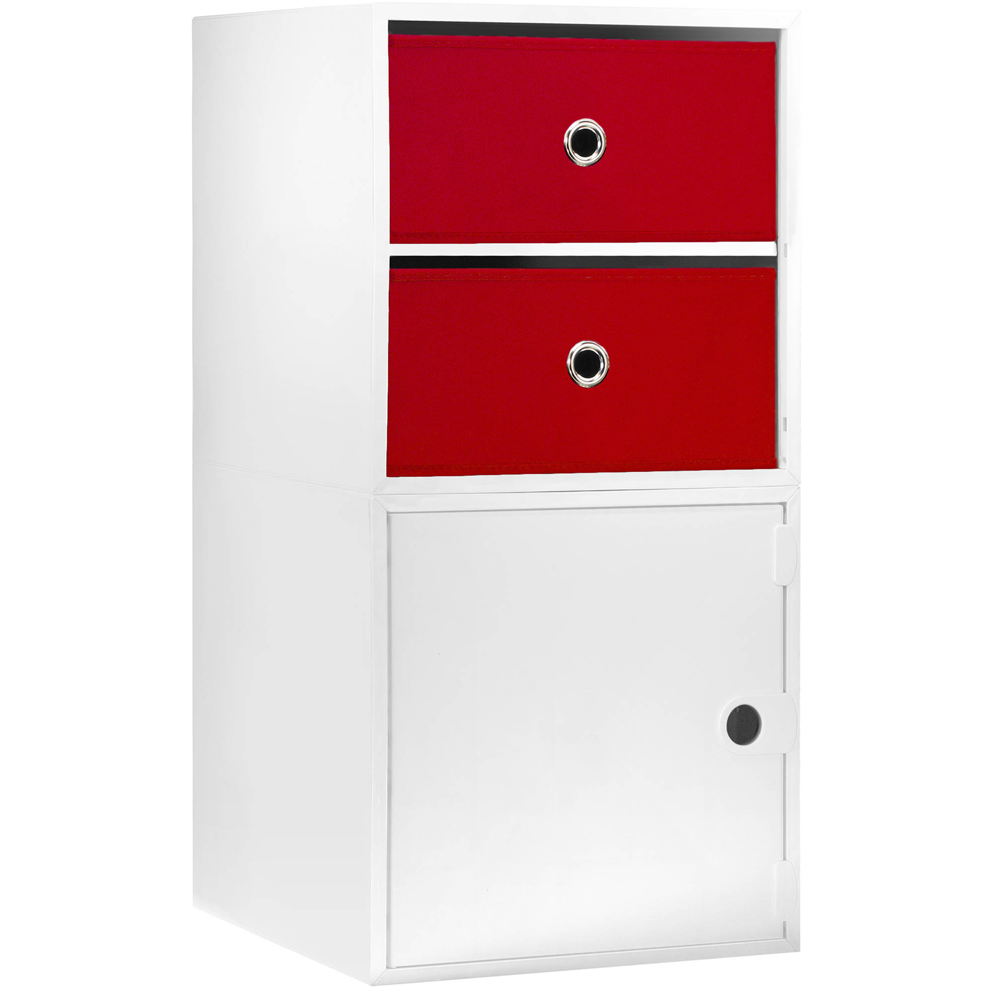 iCube 2-Drawer Nightstand, White with Red Drawers by iCube