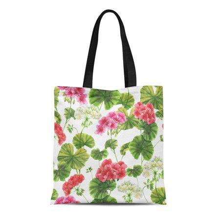 ASHLEIGH Canvas Tote Bag Green Watercolor Botanical Pattern Different Geranium Flowers Natural Pink Reusable Shoulder Grocery Shopping Bags Handbag