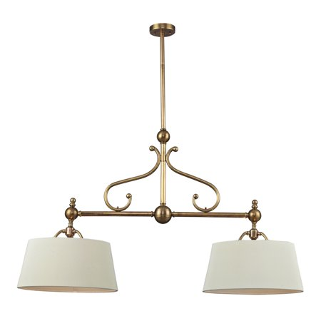 Nulco Lighting Hadley 83005/2 2Light Pendant w/ Brass & Steel & Shade