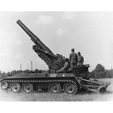Three Soldiers On A Howitzer 8 Inch Self-Propelled Howitzer US Military Poster Print, 18 x 24 - image 1 de 1