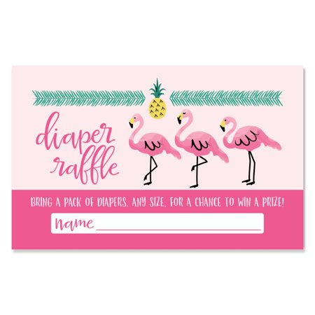 Flamingo - Party Like a Pineapple - Diaper Raffle Baby Shower Game - 18 Count