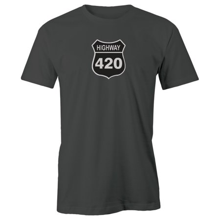 Grab A Smile Highway 420 Road Sign Adult Short Sleeve 100% Cotton T-Shirt