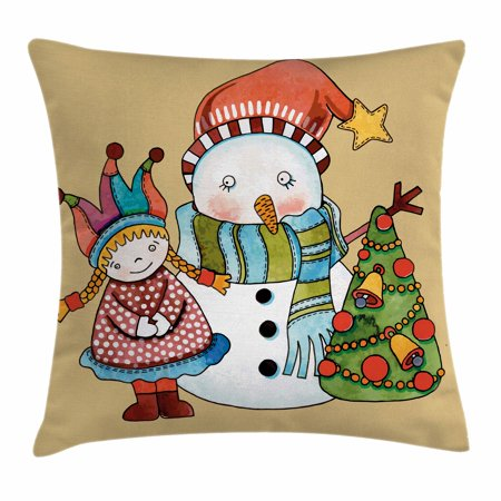 Christmas Throw Pillow Cushion Cover, Cute Little Toy Girl Snowman and Xmas Tree in Watercolors Happy New Year Theme, Decorative Square Accent Pillow Case, 16 X 16 Inches, Multicolor, by