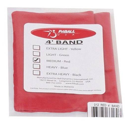 FitBALL Pre-Cut Exercise Band in Red - Medium Resistance