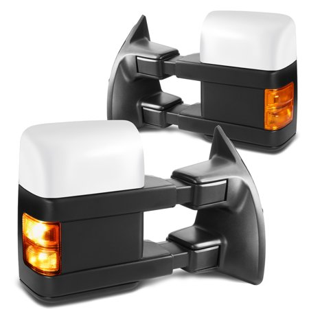 For 1999 to 2007 Ford F250 -550 Super Duty Powered Tow Mirrors Amber LED Turn Signal Lights