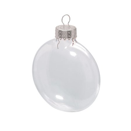 2.625' Glass Ornaments - Xmas Glass Disc Ornaments X 6 2.625 Inch