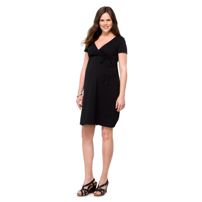 Maternity Short Sleeve Nursing Friendly Dress Black MED Liz Lange 15422908