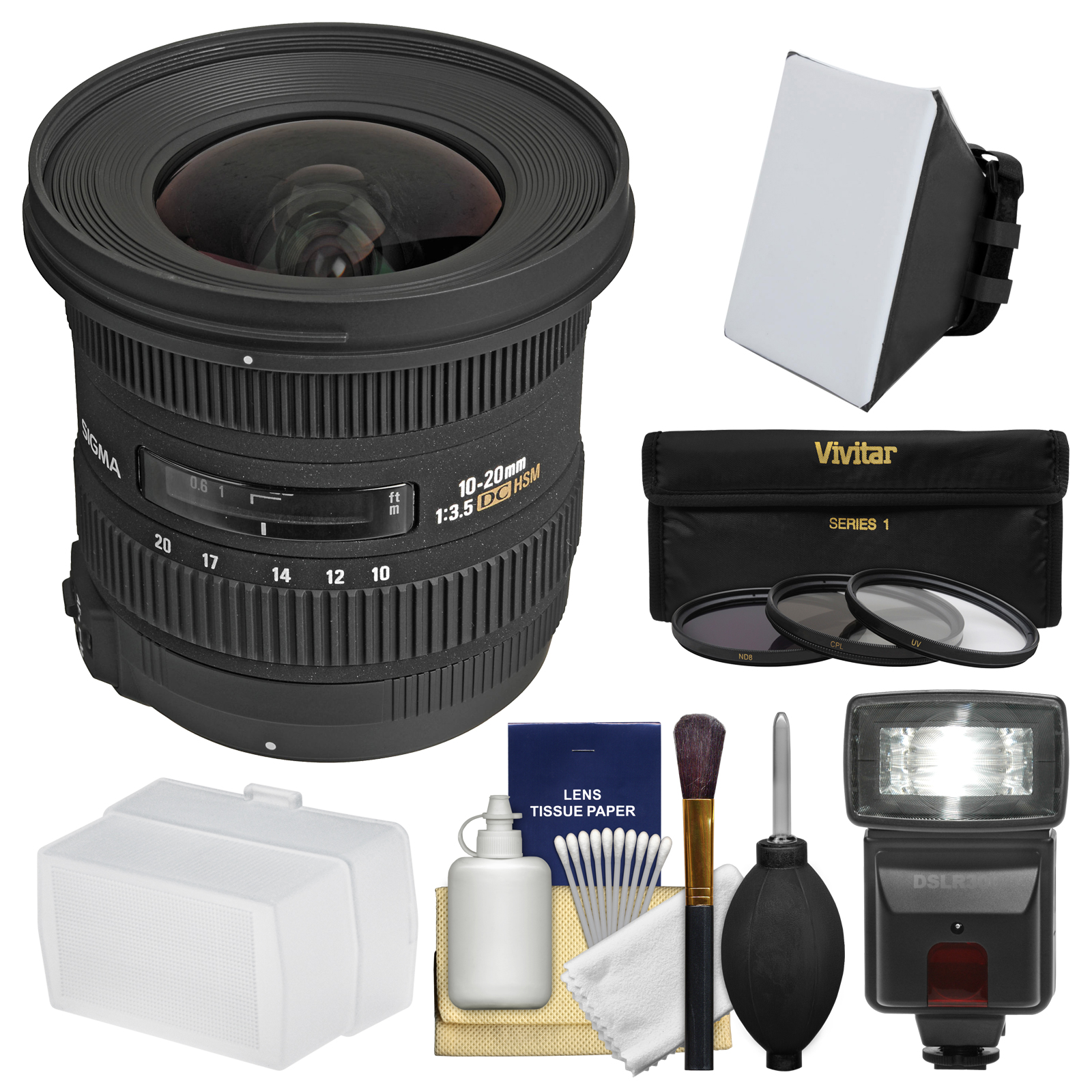 Sigma 10-20mm f/3.5 EX DC HSM Zoom Lens with Flash   Soft Box   Bounce Diffuser   3 Filters Kit for Nikon DSLR Cameras