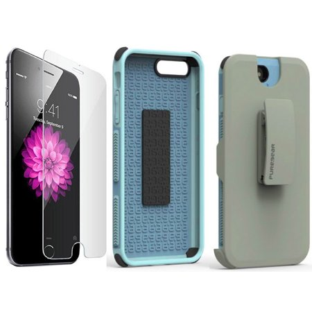 buy online 84939 a48ee iPhone 8 Plus Case with Clip, PureGear [Light Blue] Dualtek Extreme Rugged  Cover + Belt Hip Holster with Stand [and BONUS Tempered Glass Screen ...