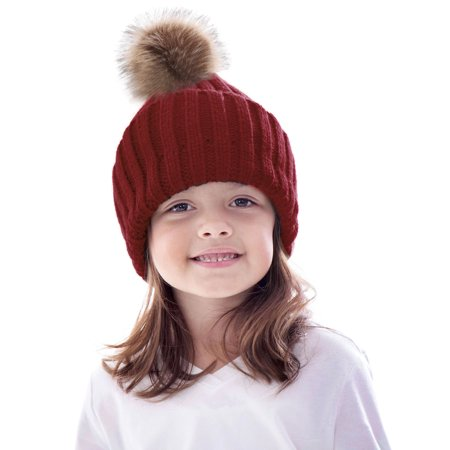 Metastor Kid s Boys Girls Winter Cable Knit Slouchy Beanie Hat with  Pompom 3ee4fdda03c