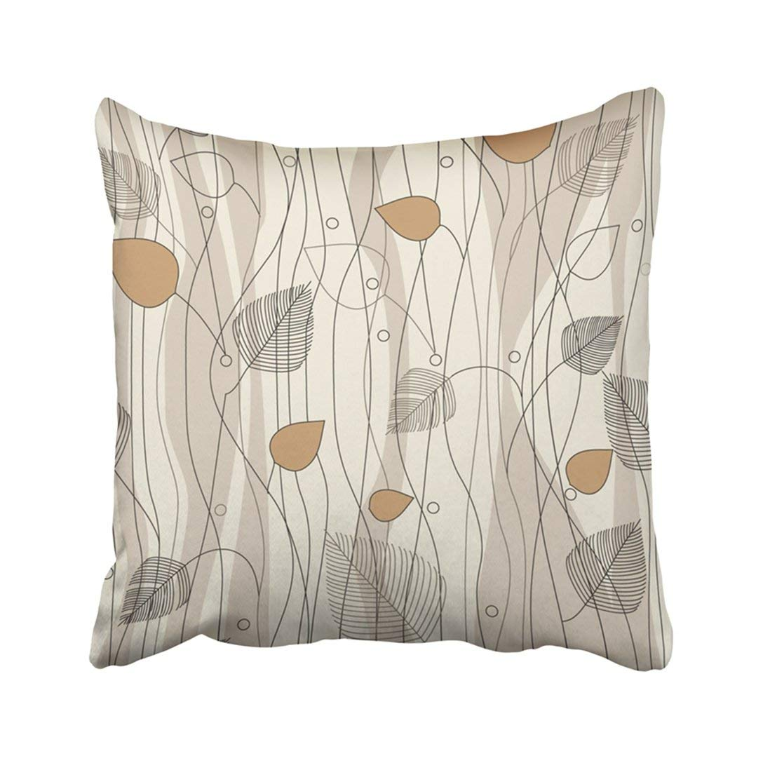 WOPOP Abstract Leaves And Trees Pattern On Ivory Color Variation Swatch Fall Whimsical Woods Pillowcase Throw Pillow Cover Case 20x20 inches