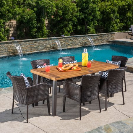Faulds 7 Piece Outdoor Dining Set with Wood Table and Wicker Chairs, Natural Stained,