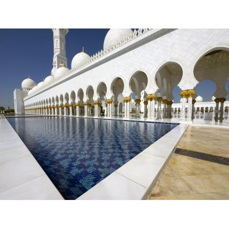 Reflecting pool in front of Sheikh Zayed Bin Sultan Al Nahyan Grand Mosque Abu Dhabi United Arab Emirates Poster Print
