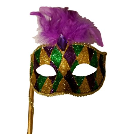 Gold Purple Green Marquis Venetian Masquerade Mardi Gras Stick Mask](Homemade Mardi Gras Masks)