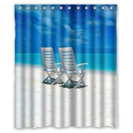 HelloDecor Tropical Beach Chair Shower Curtain Polyester Fabric Bathroom Decorative Size 60x72 Inches