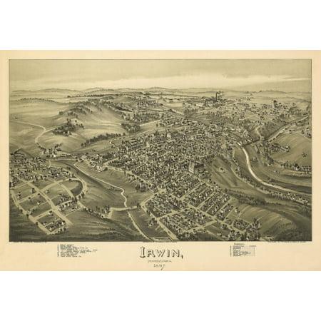 Historic Map of Irwin Pennsylvania 1897 Westmoreland County Canvas Art - (18 x 24)