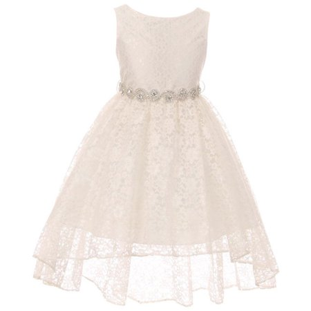 Little Girls Floral Lace High Low Rhinestones Special Occasion Flower Girl Dress Ivory 4  - Floral Occasion Dress