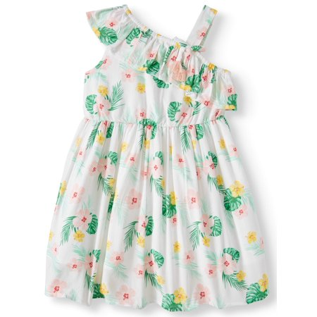 Wonder Nation Palm Print One-Shoulder Dress (Toddler Girls)](Girls Winter Dresses On Sale)