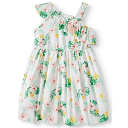 Wonder Nation Palm Print One-Shoulder Dress (Toddler Girls) (5t Christmas Dresses)